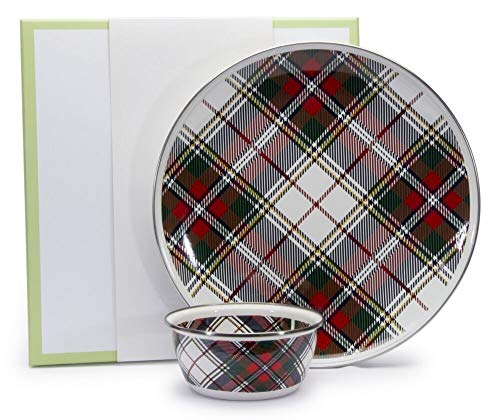Christmas Party Holiday Party Enamelware 2 Piece Gift Boxed Set Chip Dip Set 12.5