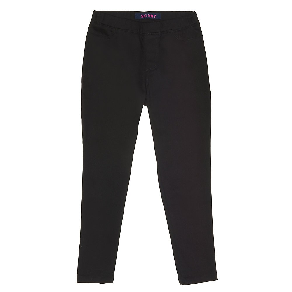 French Toast Girls' Little Skinny Pull On Twill Pant, Black, 4