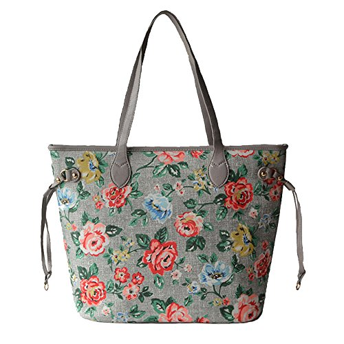 Artliving women Waterproof Canvas Vintage Floral Hobo Tote Shoulder Travel Top Handle Bag Large Grey