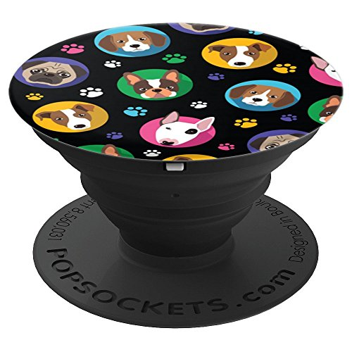 Comic Colorful Dogs and Paw Prints - PopSockets Grip and Stand for Phones and Tablets