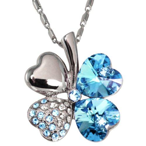 Four Leaf Clover Heart Shaped Swarovski Elements Crystal Rhodium Plated Pendant Necklace - Blue