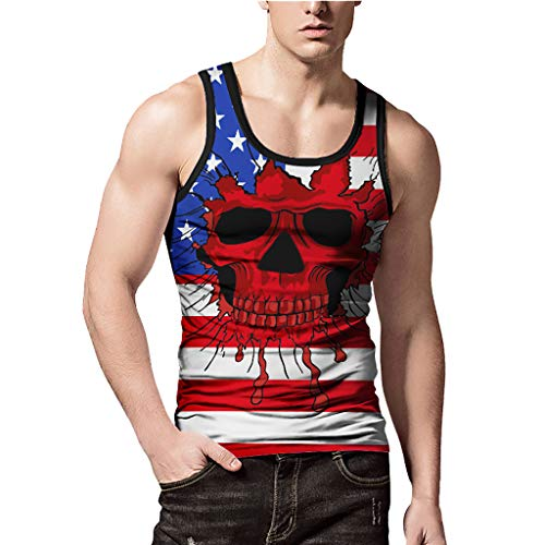 Mens Casual Body Shaper Vest,MmNote Gym Skull Head Flag Combined with Print Technology Lightweight Tank Top Red