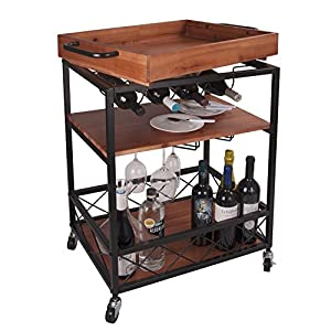 Leve 24″x18″ Solid Wood Kitchen Serving Cart Bar Buffet Cart 3 Tiers with Bottle and Goblet Holder