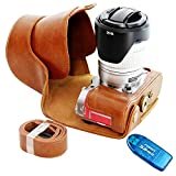 First2savvv brown full body Precise Fit PU leather digital camera case bag cover with shoulder strap for Fujifilm XA-3 XA3 with 16-50mm Lens + SD CARD READER