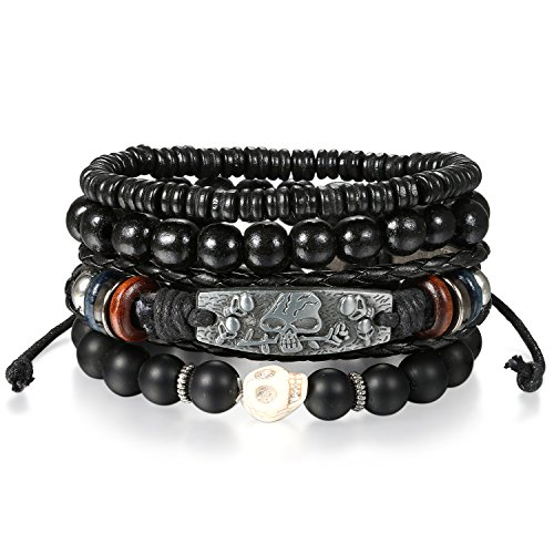 Oidea 4-5PCS Stackable Multi Leather Layer Wood Beads Skull Rose Charm Tribal Link Cuff Bracelet for Men Women