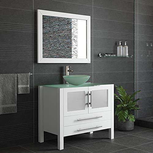 36″ Wood Glass Vessel Sink Bathroom Vanity Set w/Brushed Nickel Faucet