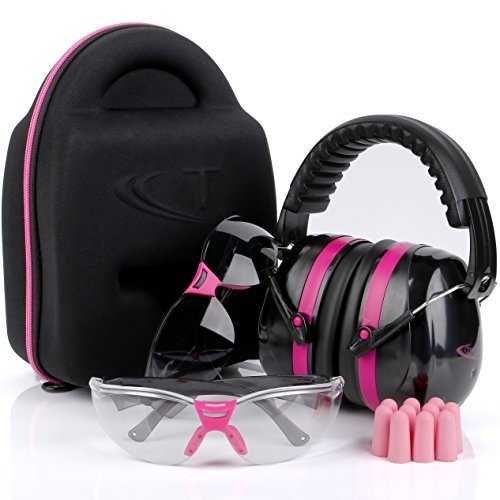 TRADESMART Pink Ear Muffs, Earplugs, Gun Safety Glasses & Protective Case - UV400 Anti Fog & Anti Scratch with Microfiber pouch | Gun Range Ear Protection & Eye Protection for Shooting - Firing A Gun