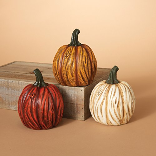Set of 3 Colorful Vertically Carved Fall Pumpkins - Tabletop Autumn Decoration (Fall Outdoor Decorating)