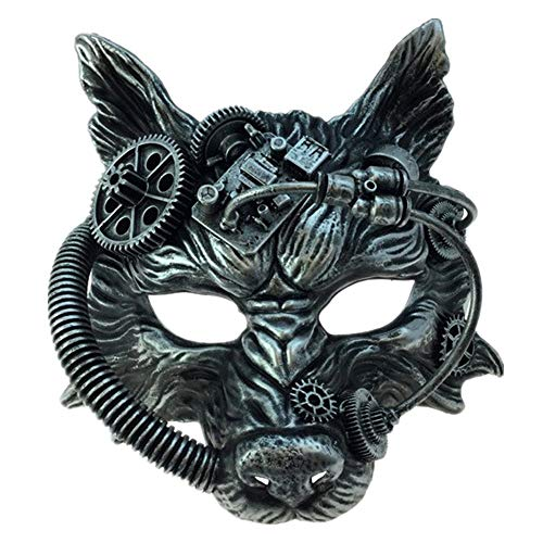 Storm Buy] Steampunk Wolf Metallic Mask Mad Scientist Time Traveler Animal Masquerade Halloween Costume Cosplay Party mask (Metallic Silver) -