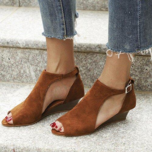 Sandals Eleganti Marrone Casuale Toe UOMOGO Donna Caramella Spiaggia Scarpe Colore Basso Peep Dolce Shoes Tacco Sandali Estivi nax48UF
