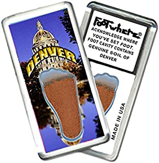 """product image for Denver """"FootWhere"""" Souvenir Fridge Magnet. Made in USA (DV206 - CapDome)"""
