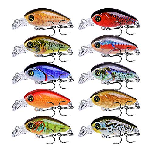 Sunlure Crankbaits Fishing Lures Kits Floating Swimbaits Wobbler Hard Baits Topwater Mini Lure for Bass Trout Pike Freshwater Saltwater 10pc/Pack