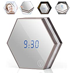 Veesee Electronic Desk Alarm Clock with Mirror,Touchable Night Light Beside Bed Rechargeable,Table Nightstand Lamp, Time/Alarm/Temperature Display Gift for Women Living Room Office Dorm (Champagne)