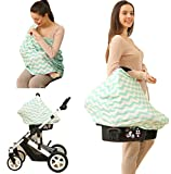 infant car seat cover green - Baby Car Seat Cover canopy nursing and breastfeeding cover(light green and white chevron)