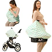 Baby Car Seat Cover canopy nursing and breastfeeding cover(light green and white chevron)