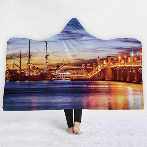 (HiDecorRoom 3D Printing Hooded Blanket Double Layer Flannel, 60Inch X)