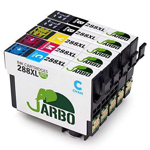 JARBO 1 Set+1 Black Replacement for Epson 288XL Ink Cartridge High Capacity, 5 Packs (2 Black 1 Cyan 1 Magenta 1 Yellow), Used in Epson Expression Home XP-330 XP-430 XP-434 Printer