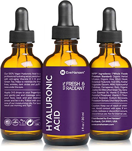 Hyaluronic Acid Hydrating Serum - Hyaluronic Acid Serum 1 Ounce by Eve Hansen. Vegan Hydrating Serum and Anti Wrinkle Serum with Moisturizing, Brightening and Plumping Technology. Pure Hyaluronic Moisturizer Wrinkle Filler!