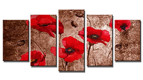 Wieco Art Red Poppies on Brown 5 Panels Modern Gallery Wrapped Floral Giclee Canvas Print Flowers Pictures to Photo Paintings on Canvas Wall Art Work Ready to Hang for Living Room Home Decor L ()