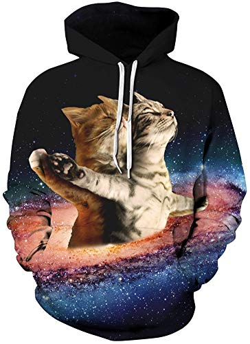 RAISEVERN Frauen Männer Paar Katzen Travel Space Print Langarm Pullover Hoodies Sweatshirt Casual