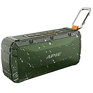 APIE Portable Wireless Outdoor Bluetooth Speaker IPX6 Waterproof Dual 10W Driversf, Enhanced Bass, Built in Mic,Water Resistant,Beach, Shower & Home