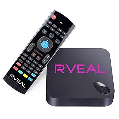 Rveal Streaming Media Player & Android Smart TV Box with Upgraded Rveal Air Mouse Remote & Keyboard