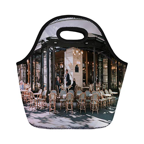 - Semtomn Lunch Bags Typical View of the Parisian Street Tables Brasserie Cafe Neoprene Lunch Bag Lunchbox Tote Bag Portable Picnic Bag Cooler Bag