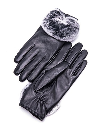 hscreen Lambskin Leather Gloves Rex Rabbit Fur Cuff Soft and Hand Warm Heated Fleece Lined Luxury for Ladies Winter Accessories Dress Driving Xmas Gift Packed, Black 7