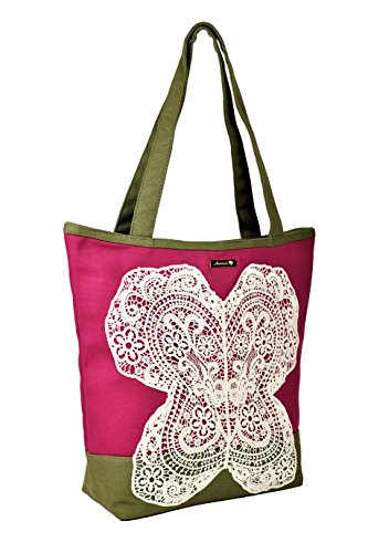 Designer Premium Quality Tote/Handbag - Boutique Style Zipper Closure (Cherry, Dark Brown) ()