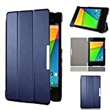 Motoor Nexus 7 2013 case, Slim-Fit Case Cover for Google Nexus 7 2013 Tablet Stand and Auto Sleep with Wake Function Dark Blue