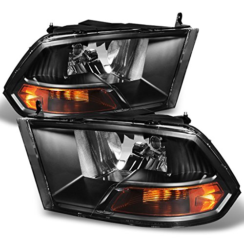 For Black 09-18 Ram 1500 2010-2018 Ram 2500 3500 Pickup Truck Headlights Front Lamps Direct Replacement ()