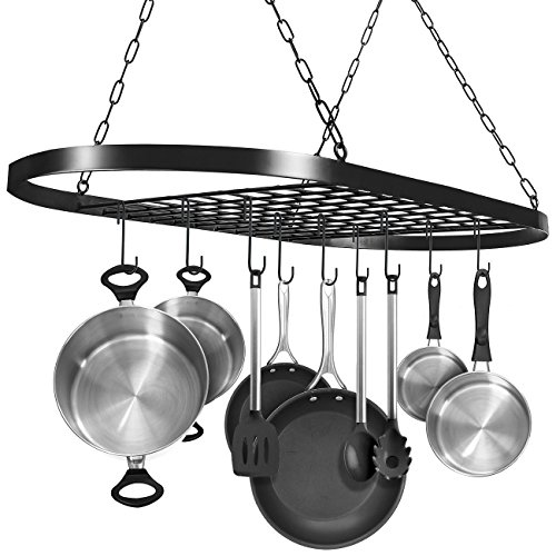 Sorbus Pot and Pan Rack for Ceiling with Hooks - Decorative Oval Mounted Storage Rack - Multi-Purpose Organizer for Home, Restaurant, Kitchen Cookware, Utensils, Books, Household (Hanging Black) ()