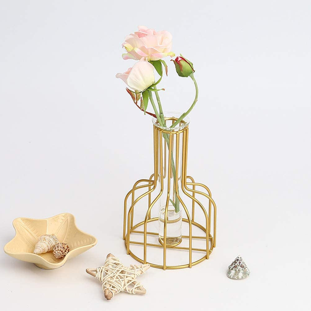 Verre 10 * 10 * 15cm Fer Calayu Vase hydroponique en Verre et Cadre en Fil de Fer Transparent pour caf/é d/écoration de Maison Noir Boutique