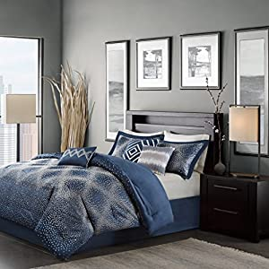 Madison Park Quinn Queen Size Bed Comforter Set Bed In A Bag - Navy, Jacquard – 7 Pieces Bedding Sets – Ultra Soft Microfiber Bedroom Comforters
