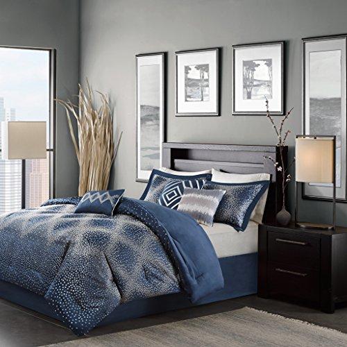 Madison Park Quinn 7 Piece Comforter Set Navy King ()
