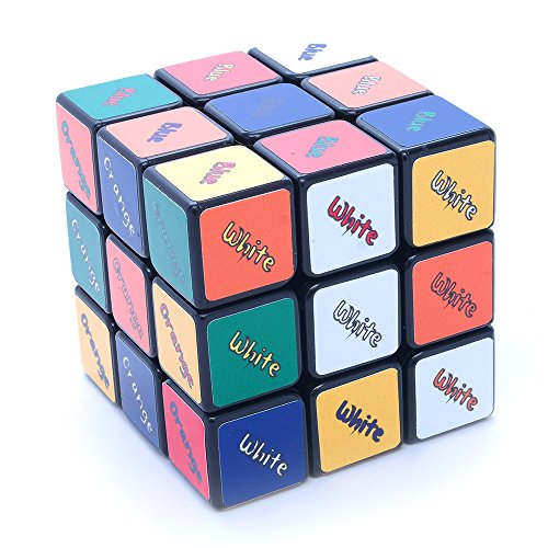 3x3x3 Black Three Solution SuperCube Picture Cube Sticker Mod Twisty Puzzle