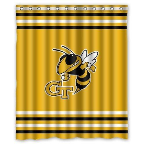 Custom NCAA Georgia Tech Jackets Waterproof Polyester Shower Curtain 60x72
