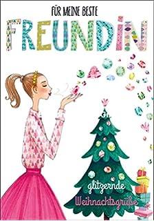 Frohe Weihnachten Freundin.Weihnachtskarte Mila Marquis Mädchen Auf Hirsch Frohe