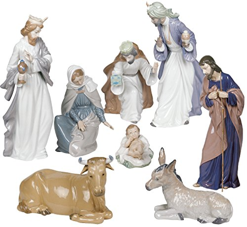 Nao by Lladro Nativity Set Figurines -Porcelain Christmas Set Ornament -Holy family baby Jesus, Mary, Josef, Three kings Baltisar, Melchior, Gaspar, Ox, Donkey Best Holiday gift collectible