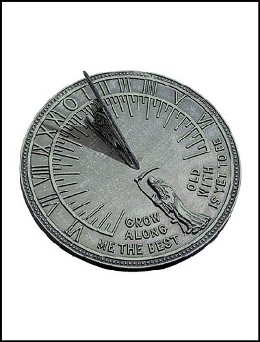 Rome 2550 Father Time Sundial, Cast Iron with Verdigris Finish, 11.5-Inch Diameter