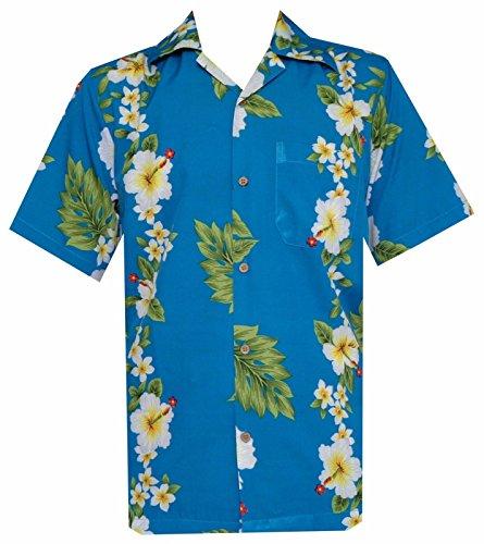 Camicie stile hawaiano con stampa fiore di ibisco festa sulla spiaggia Aloha Turquoise X-Large