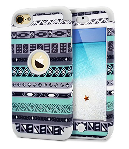iPod Touch 5 Case,iPod Touch 6 Case,Dailylux 3in1 Hybrid Full Body Impact Resistant Shockproof PC Silicone Protective Cover for iPod Touch 5th 6th Generation-Diamond Phombus+Gray (Ipod Cases Girls 5 Touch For)
