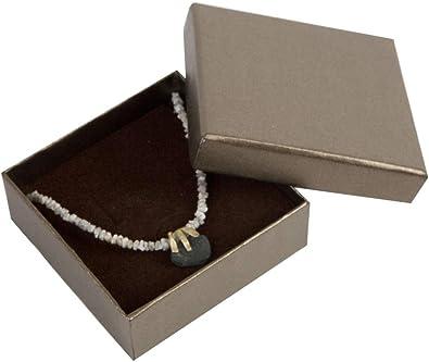 Boxpack 24 Cajas Estuches de cartón para Colgante Collar 85x85x32 mm. Interior de Espuma Aterciopelada Blanca y Marrón (Reversible) para acoplar los Pendientes: Amazon.es: Joyería