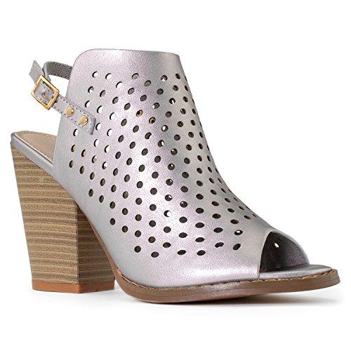 RF ROOM OF FASHION Laser Cut Wood Block High Heel Mule Sandals - Open Toe Slip On Ankle Booties - Velcro Or Buckle Closure Silver (7.5) (Block Laser)