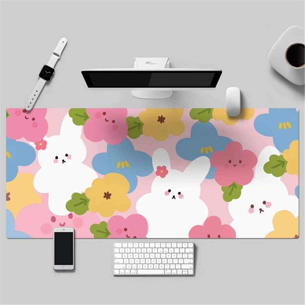 1) LL-COEUR Lovely Girl Cartoon Flower Leather Mouse Pad Gaming Keyboard Mat Waterproof Table Mat Thickness 2mm (1200 x 600 x 2 mm