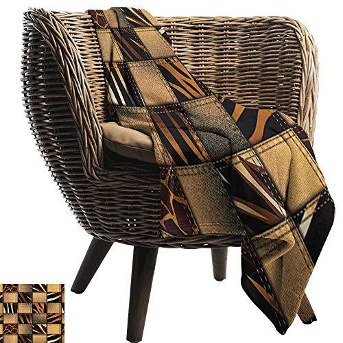 "Warm Blanket Safari Jeans Denim Patchwork in Safari Style Wilderness Stylized Design Art Print All Season Premium Bed Blanket 70"" Wx84 L"