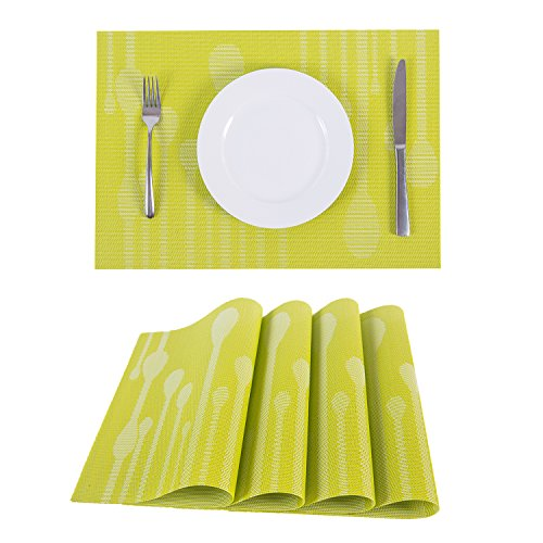 Set of 4 Placemats,Placemats for Dining Table,Heat-resistant Placemats, Stain Resistant Washable PVC Table Mats,Kitchen Table mats.(4, Raindrop-Green)
