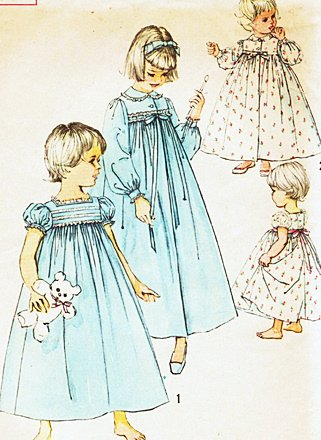 Simplicity 2784 Girls Nightgown Robe, Yoke, Gathered, Puff Sleeves, Vintage Sewing Pattern Check Offers for Size ()