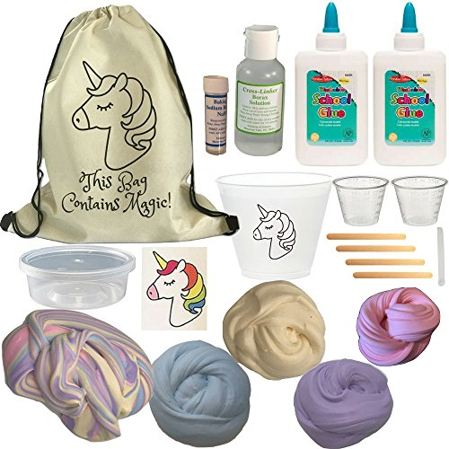 Unicorn Slime Kit DIY Everything You Need to Make Rainbow Fluffy Butter Slime. Great Unicorn Party Idea. with 4 Color Clay, Lotion, Activator, Sticker and Supplies! by Baby Mushroom