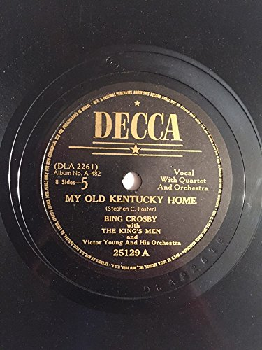 - 1940 Shellac Bing Crosby My Old Kentucky Home b/w De Camptown Races : 78 RPM Decca 25129 : Comes with a CD Transfer